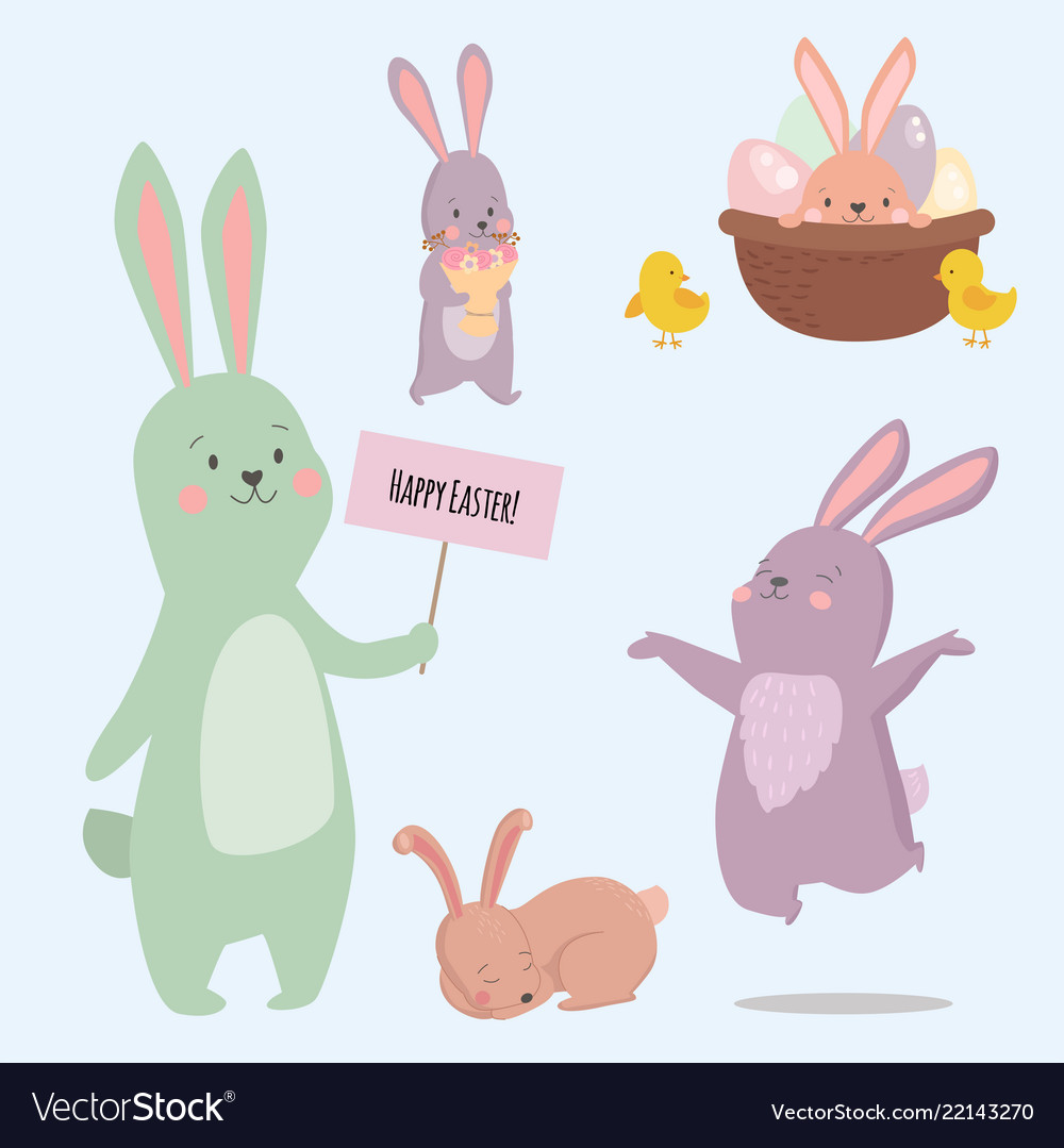 Easter rabbit character bunny different pose