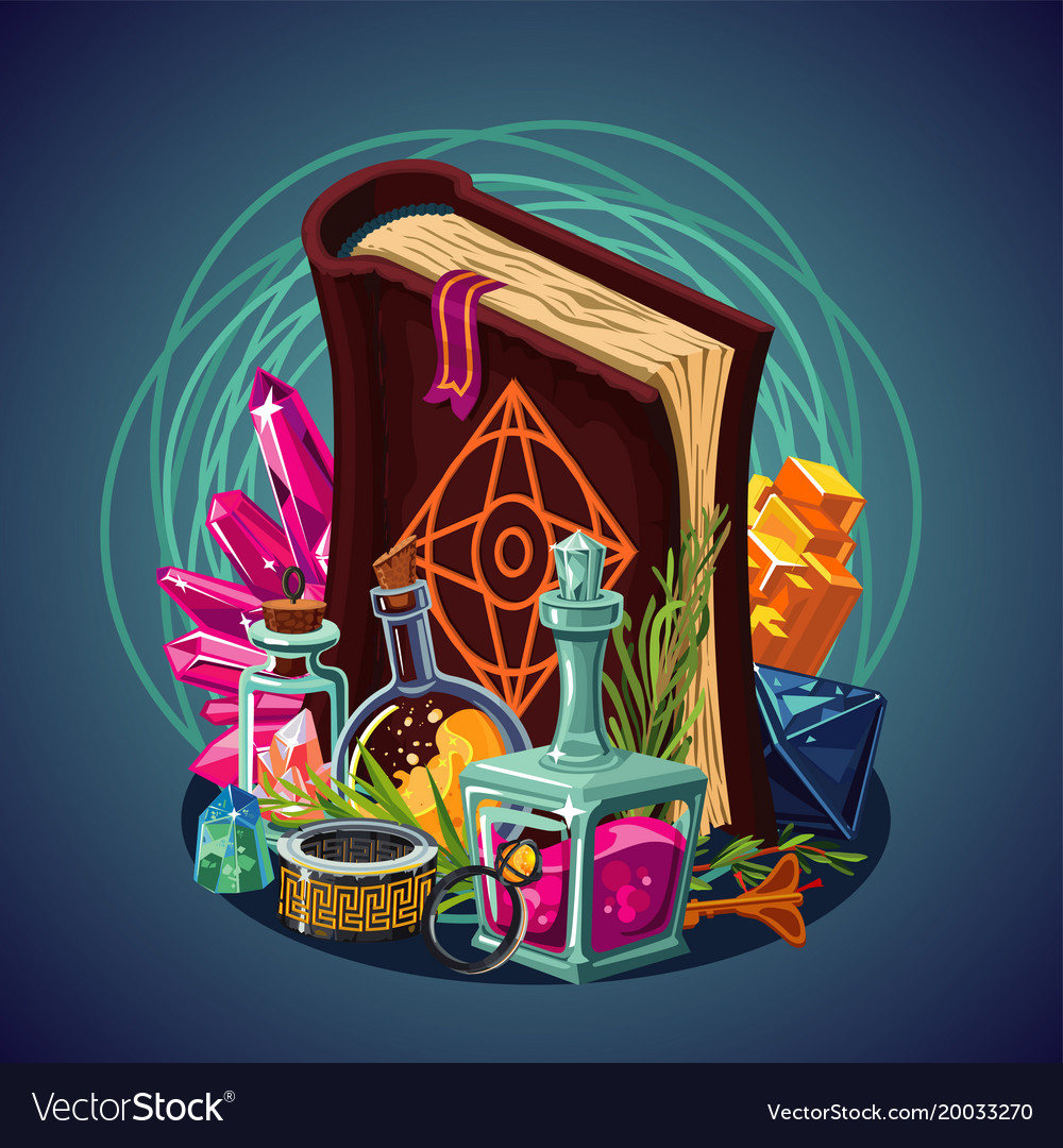 Fantasy game equipment magic background concept vector image