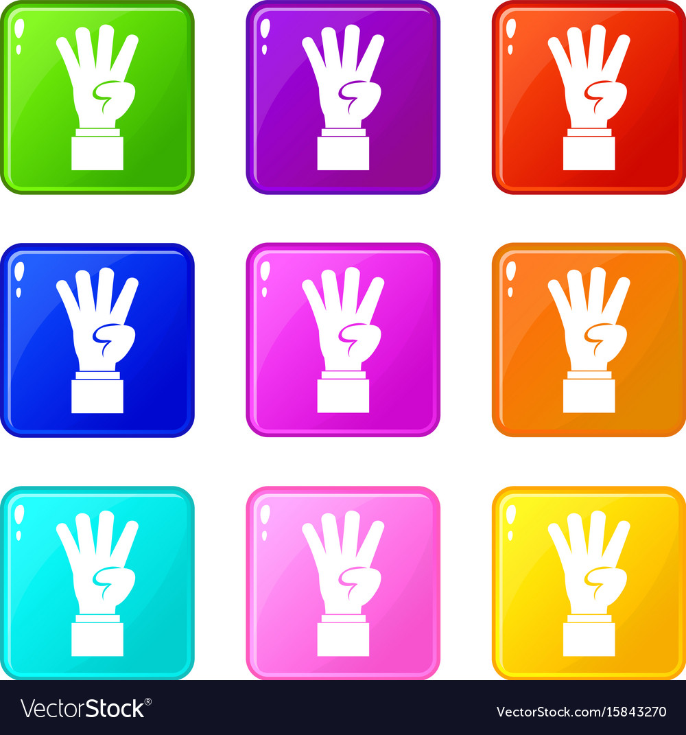 Hand showing number four icons 9 set