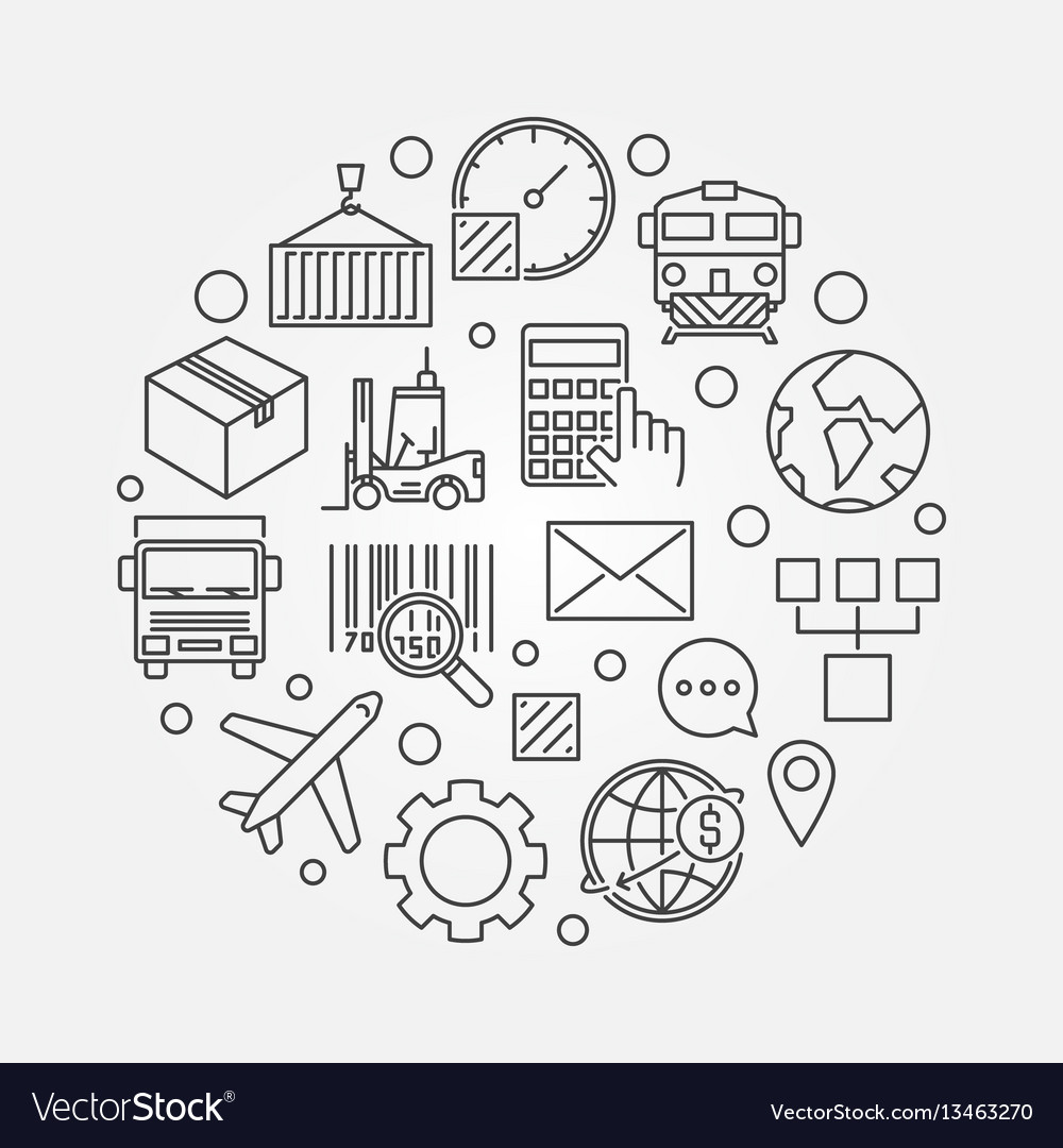 Logistics and delivery round vector image