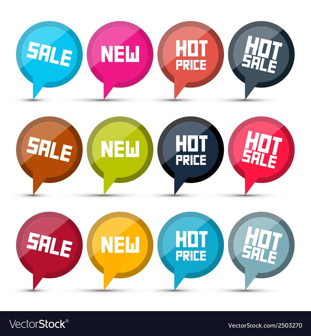 Sale Labels Set on White Background