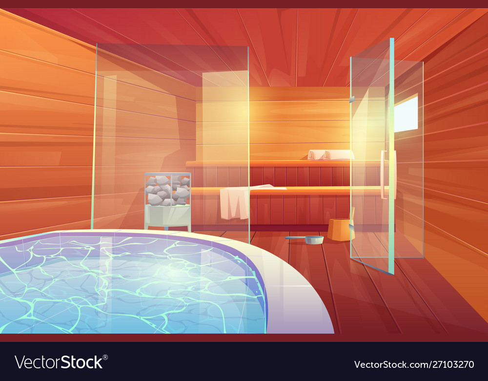 Sauna with swimming pool and glass doors interior