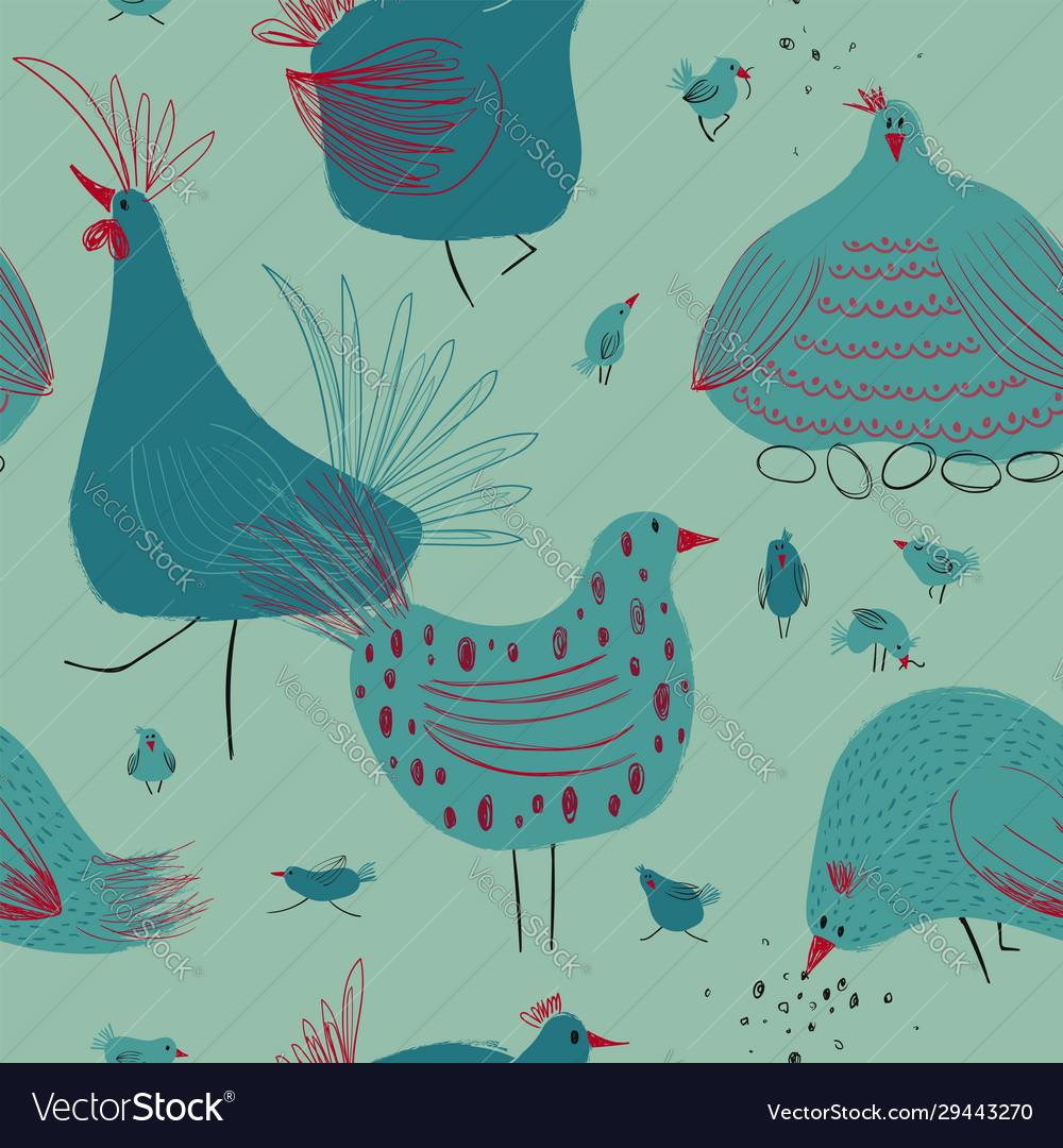 Seamless pattern with chickens and rooster