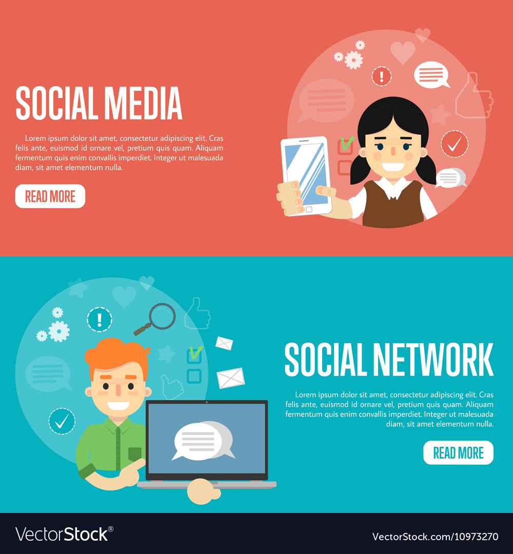 social media network website templates royalty free vector