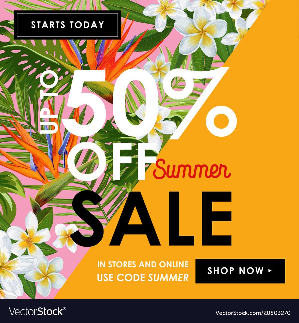 Summer sale floral banner seasonal discount ads vector image