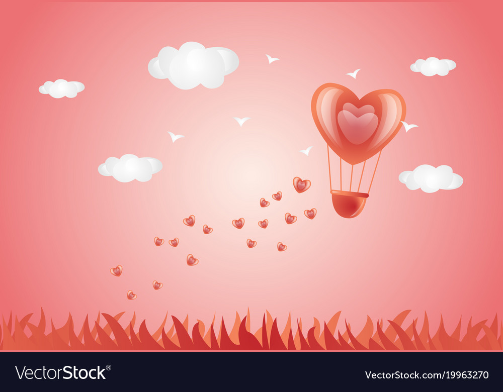 Valentine Day Card Heart Air Balloon In Pink Sky