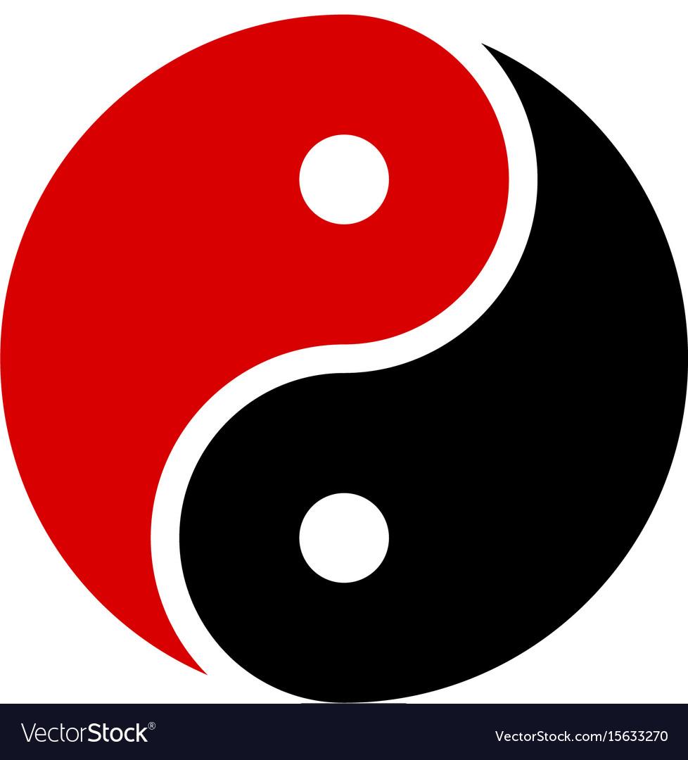 yin yang icon harmony symbol red and black vector image rh vectorstock com yin yang symbol vectorial ying yang vector art