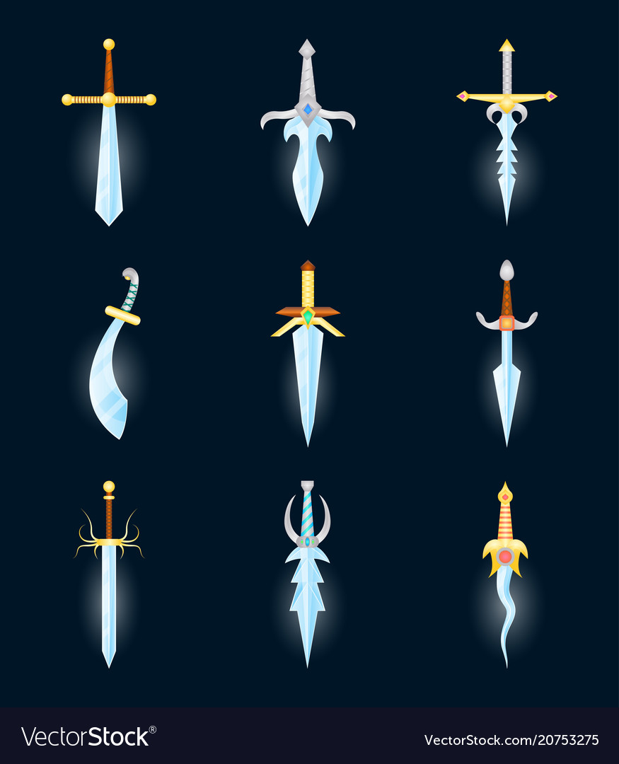 Cartoon magic swords color icons set vector image