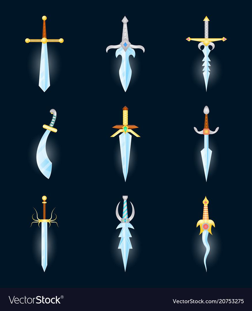 Cartoon magic swords color icons set