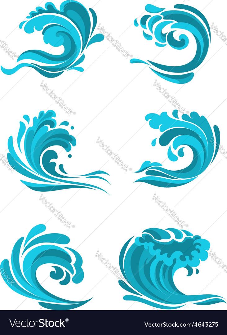 Curling sea and ocean blue waves