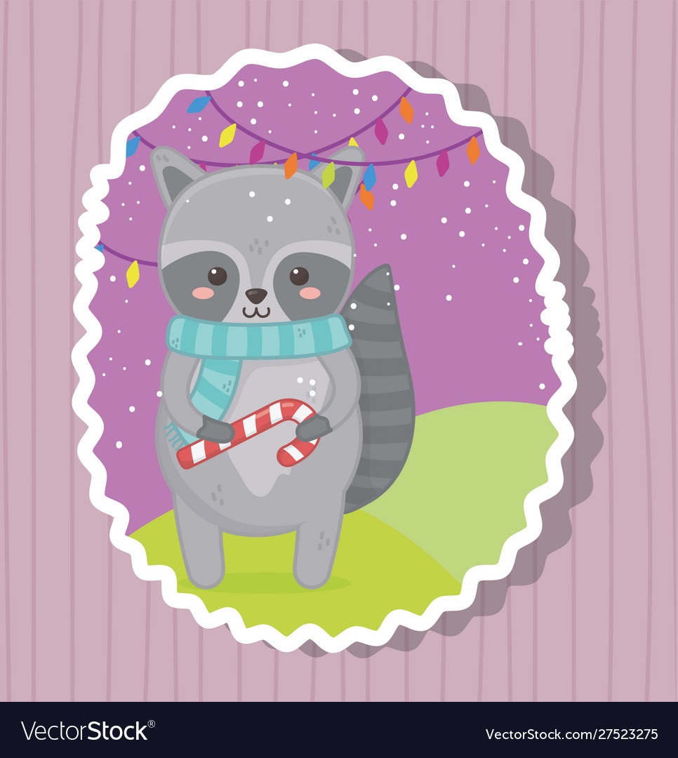 Cute raccoon with candy cane merry christmas