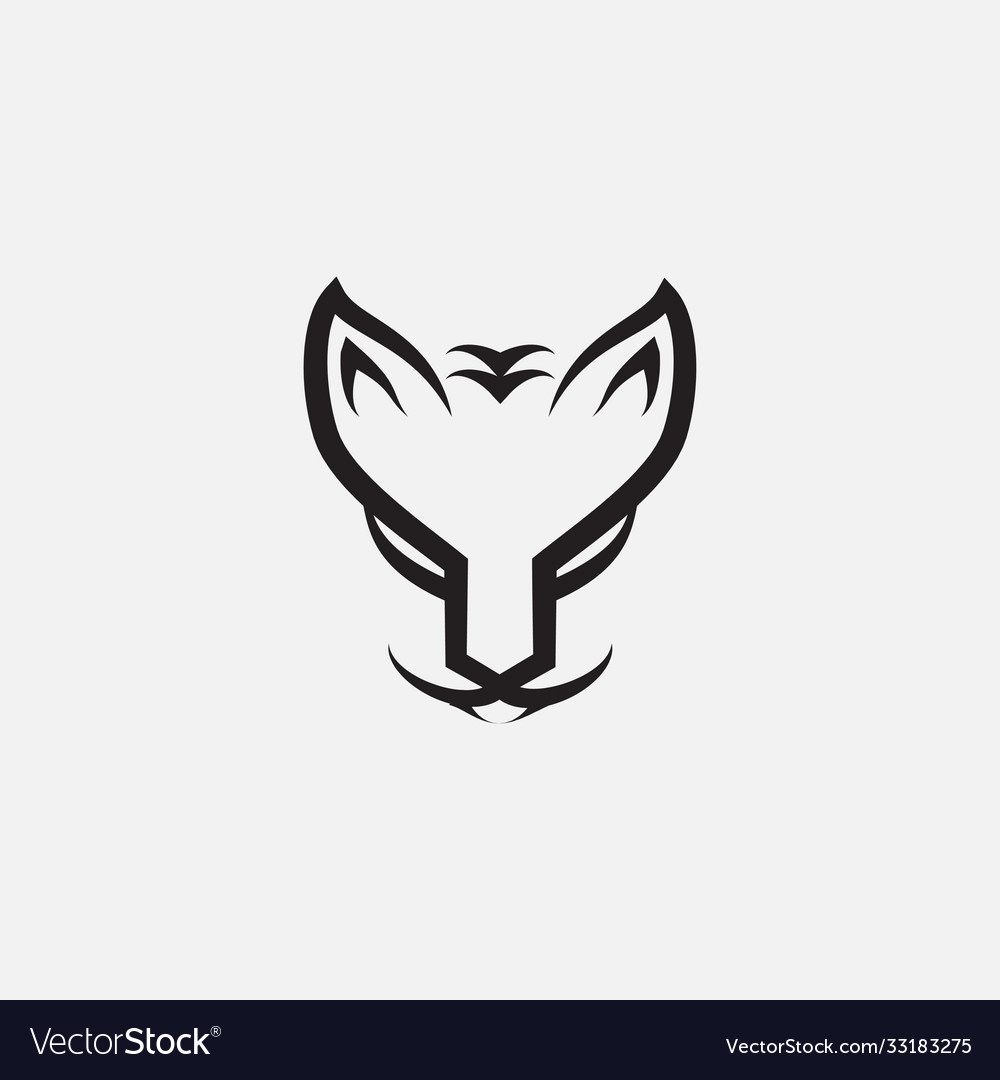 Forest cat norwegian face line logo design