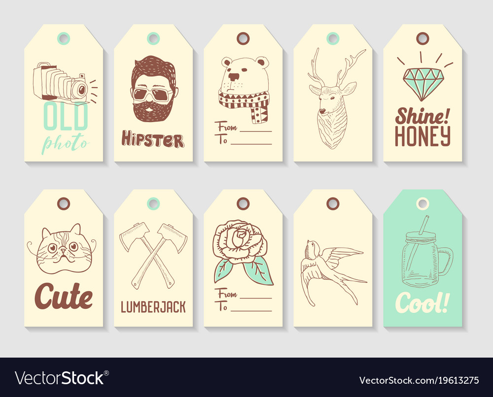 Hipster fashion hand drawn tags collection
