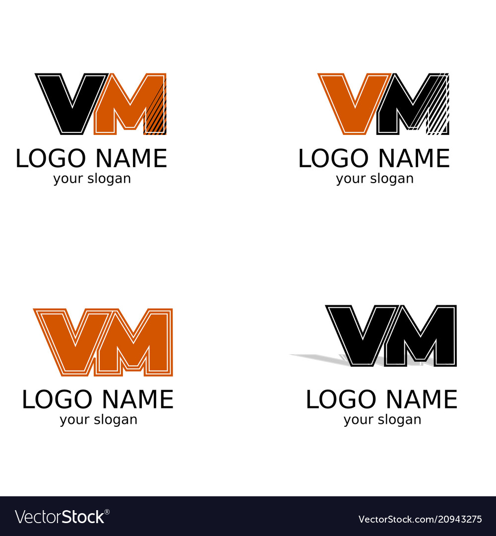Letters v and m of black and orange color a set vector image