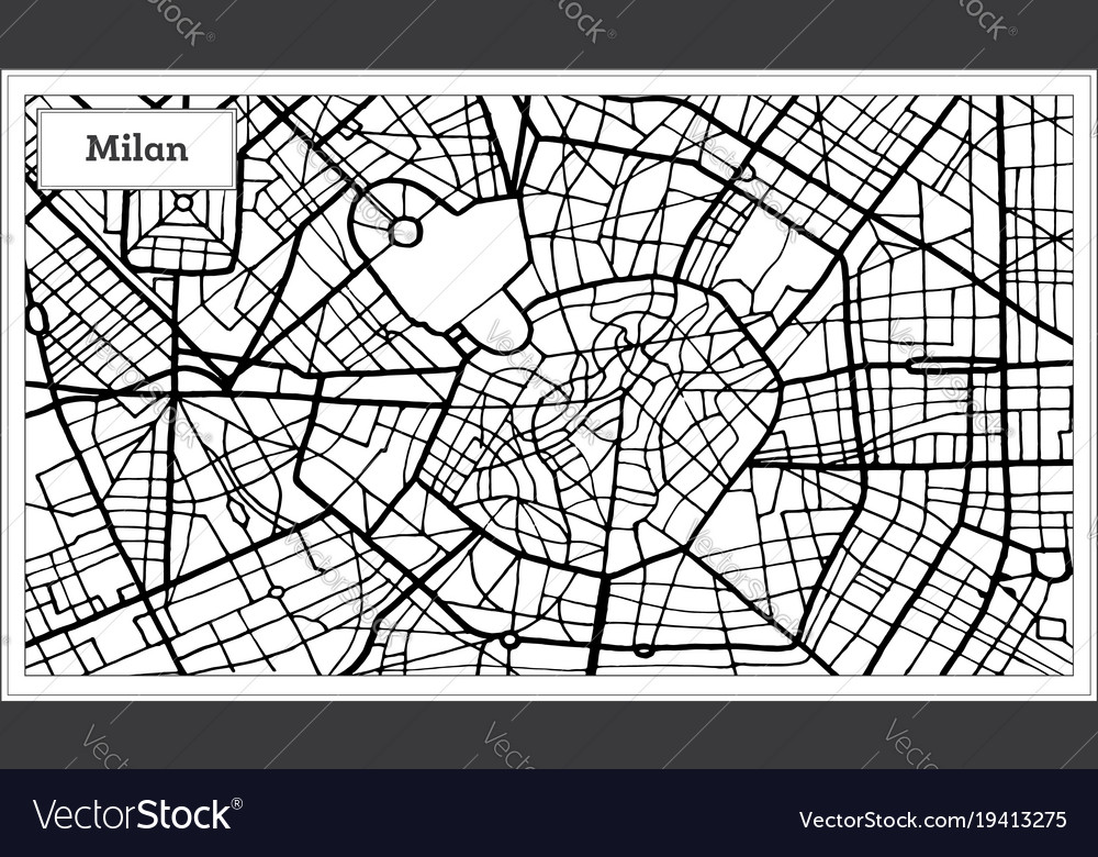 Black And White Map Of Italy.Milan Italy City Map In Black And White Color
