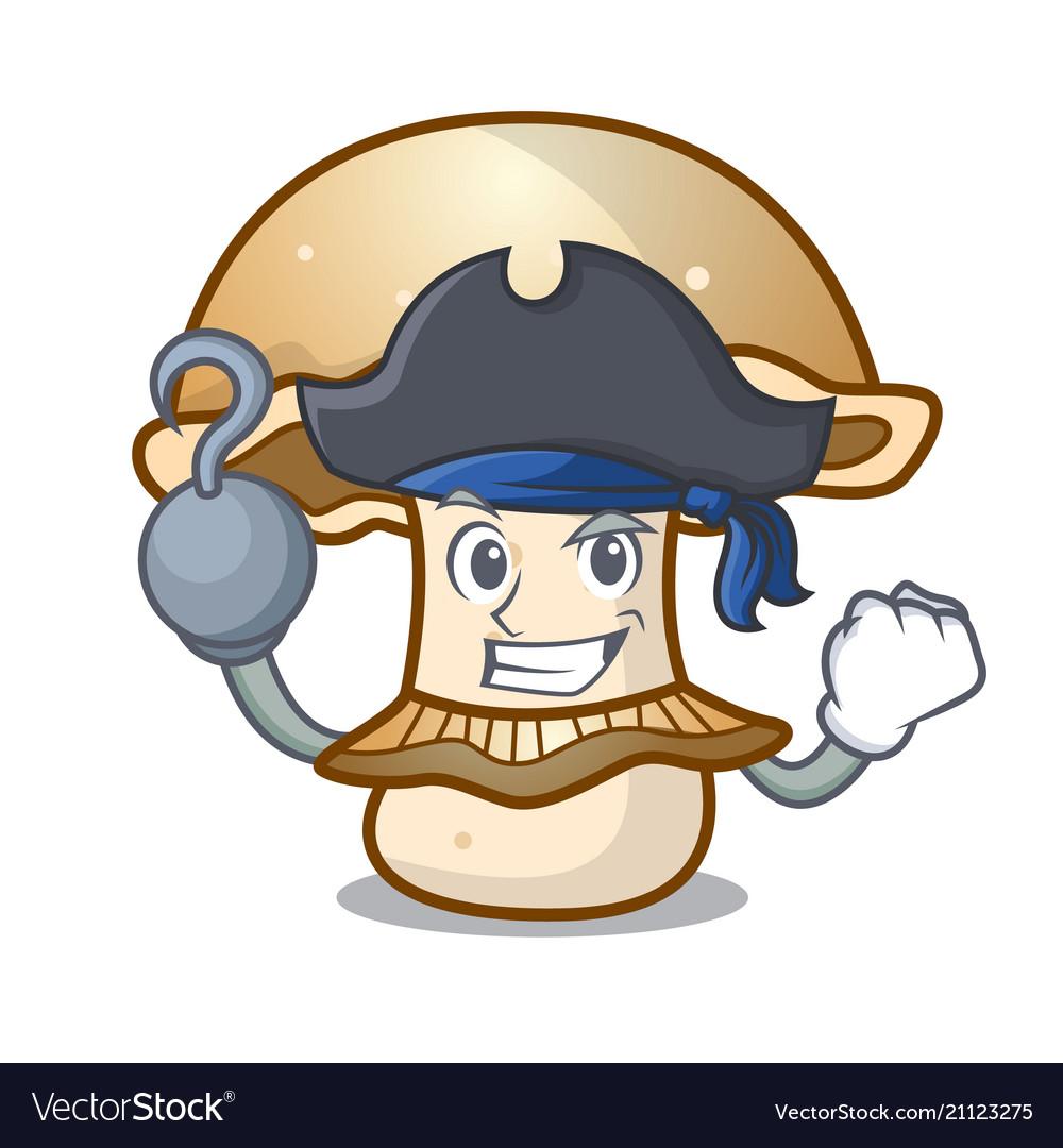 Pirate portobello mushroom character cartoon
