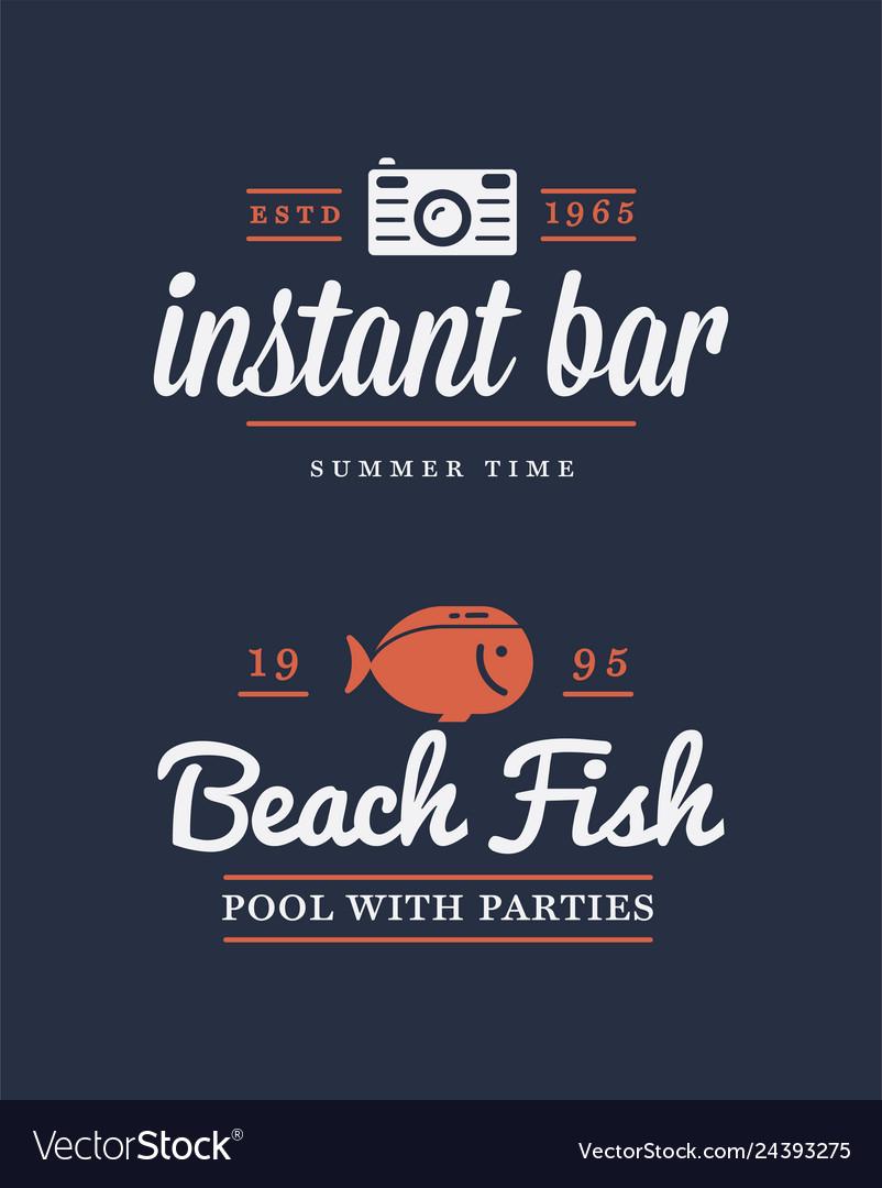 Summer retro logo template for banner poster flyer
