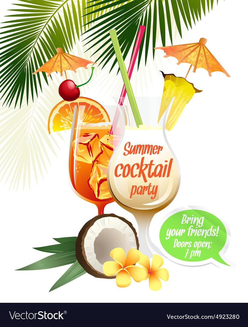 Beach tropical cocktails bahama mama and pina