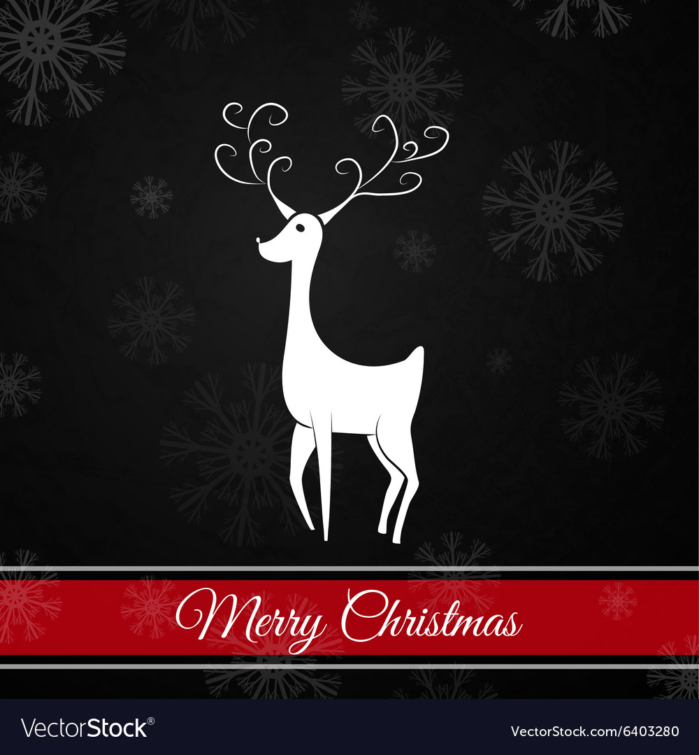 Black Christmas postcard whit christmas deer