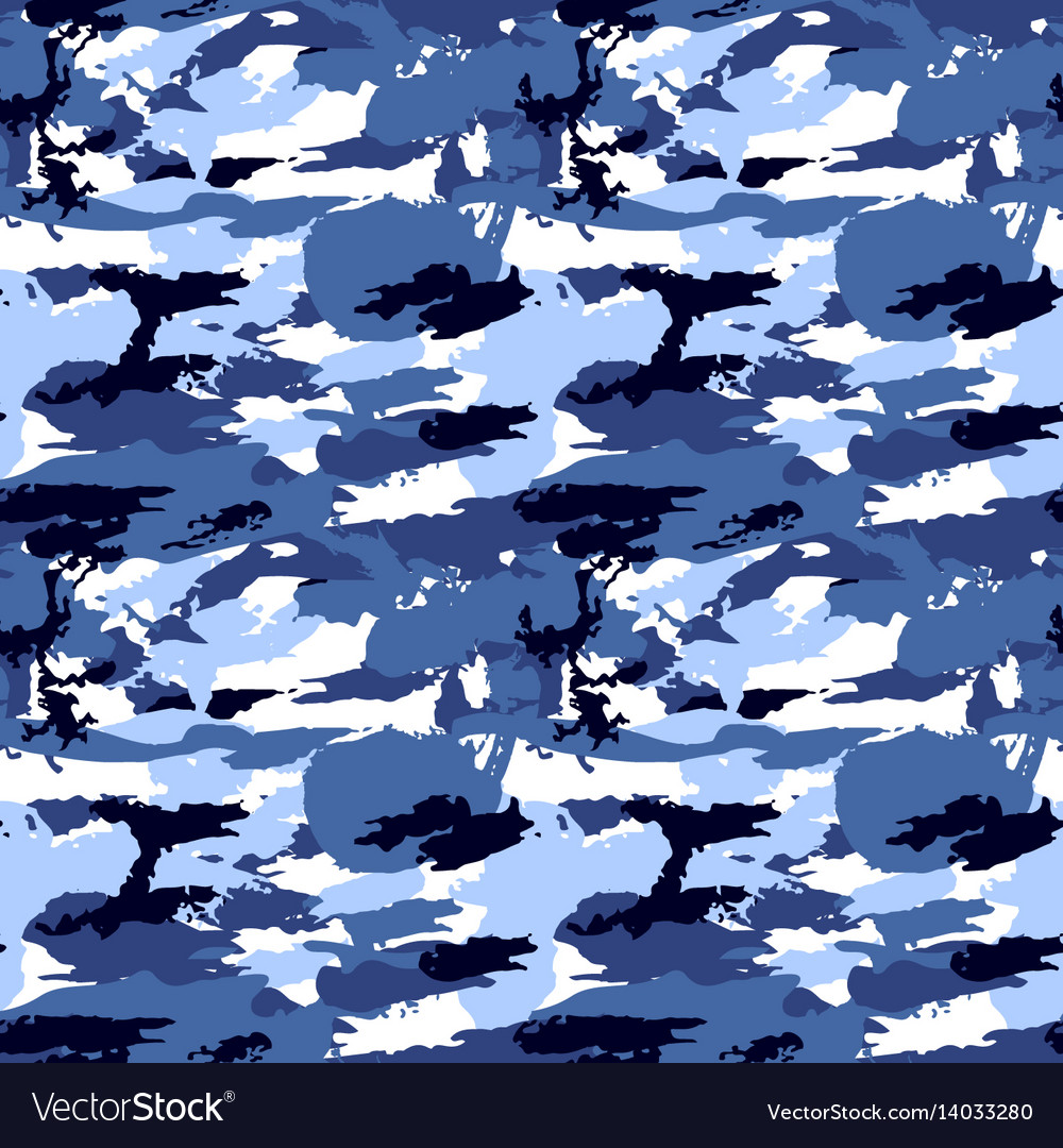 Blue camouflage equipment seamless pattern