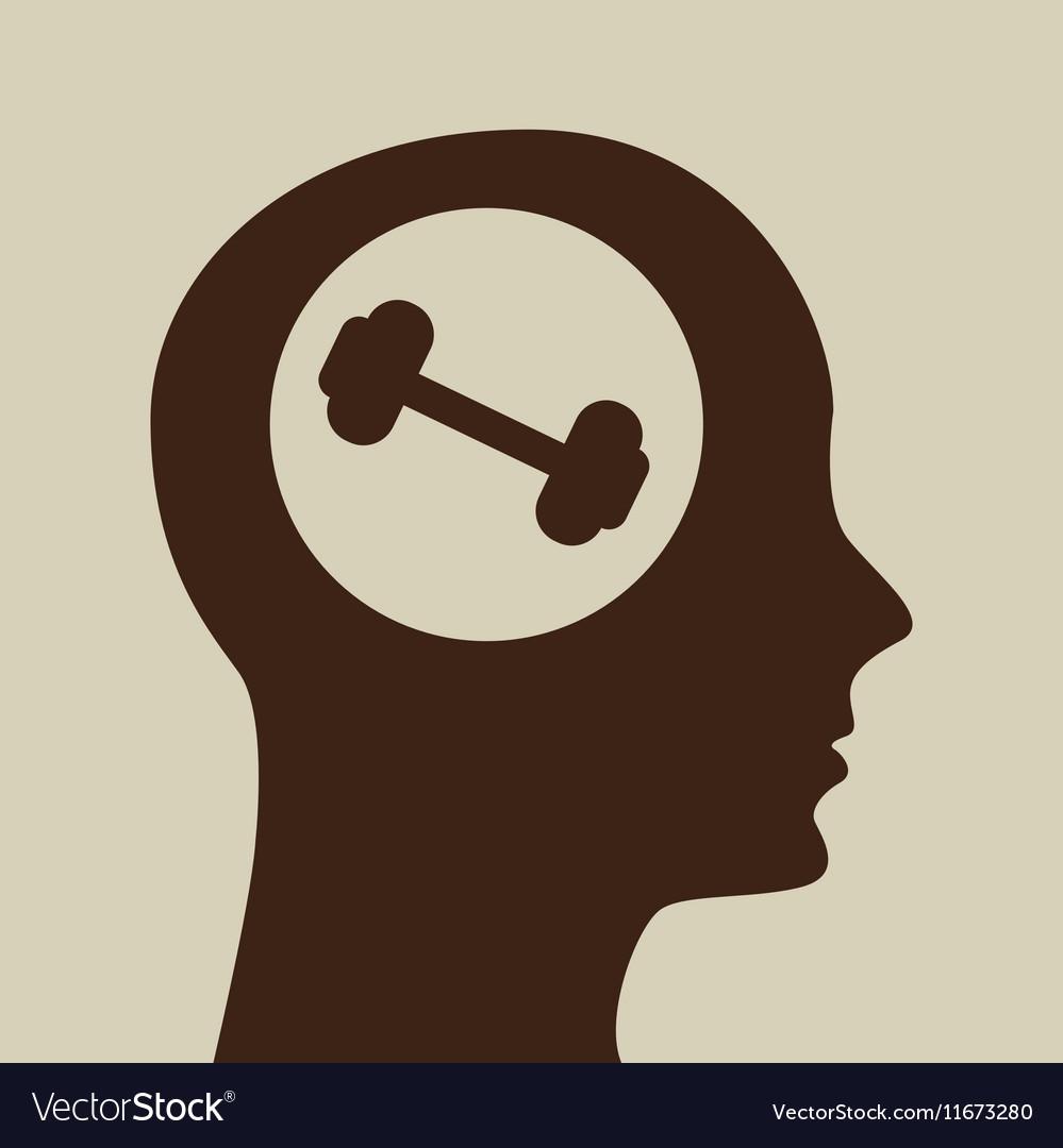 Blue silhouette head barbell icon design