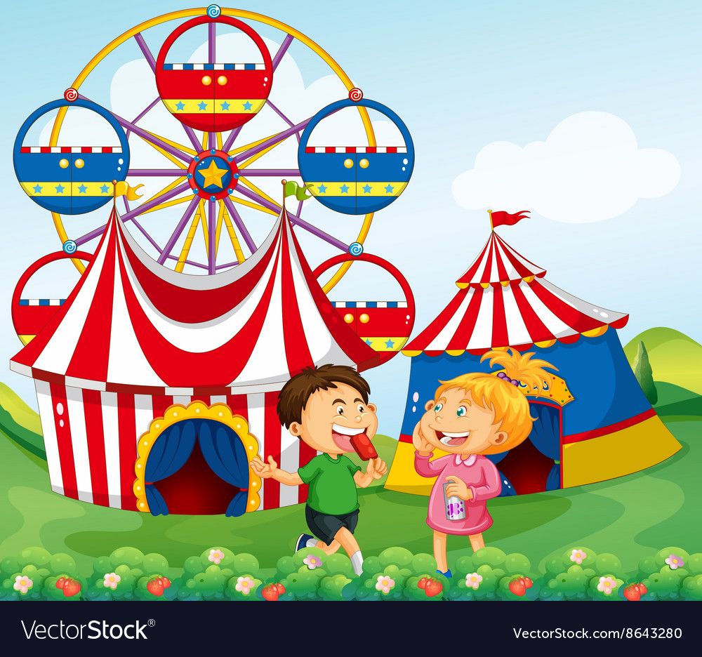 Boy and girl enjoying circus