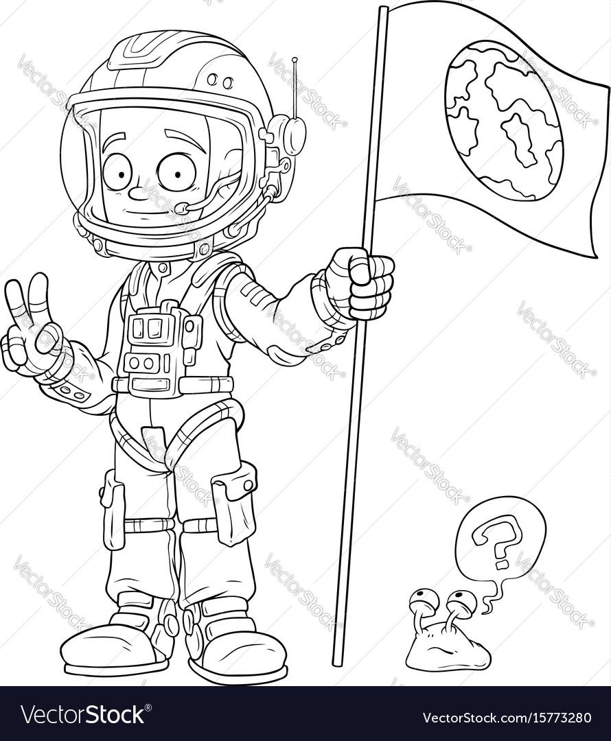 Cartoon astronaut in space suit character