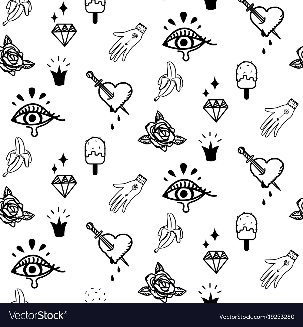 doodle hipster flash tattoo style seamless vector image