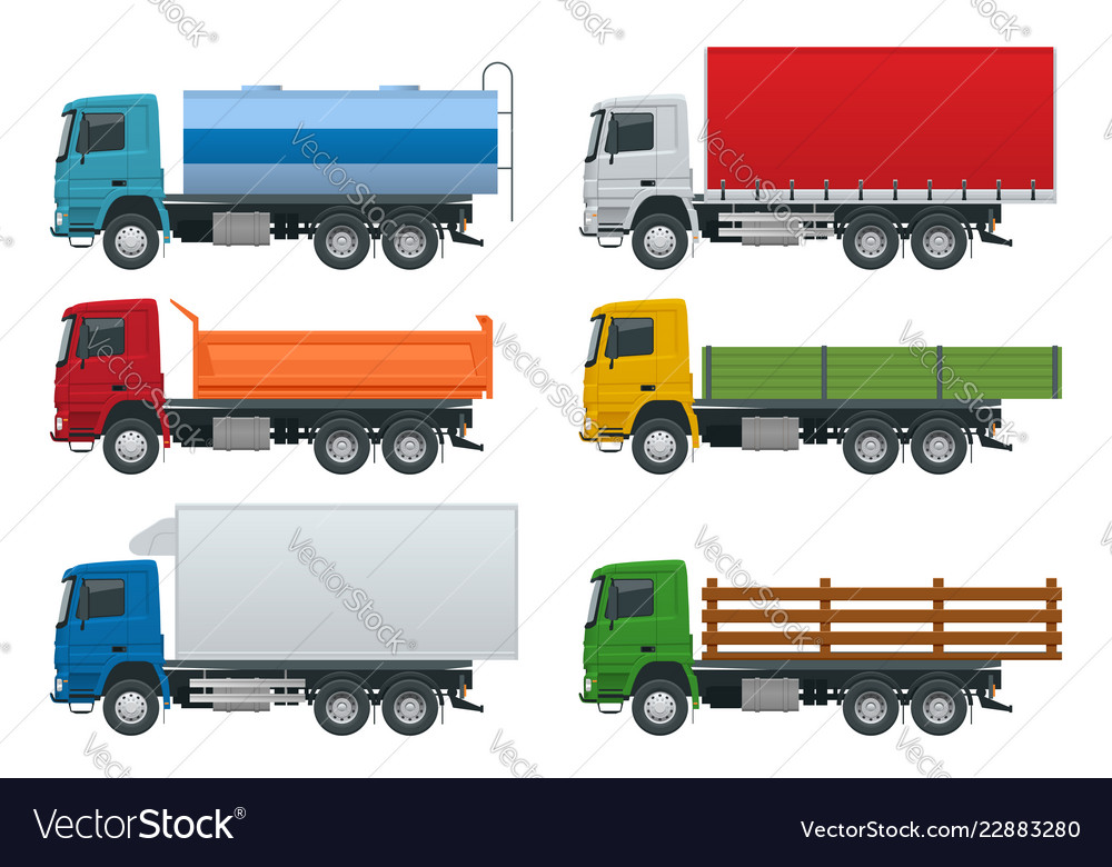 Flat trucks set isolated realistic vehicles on