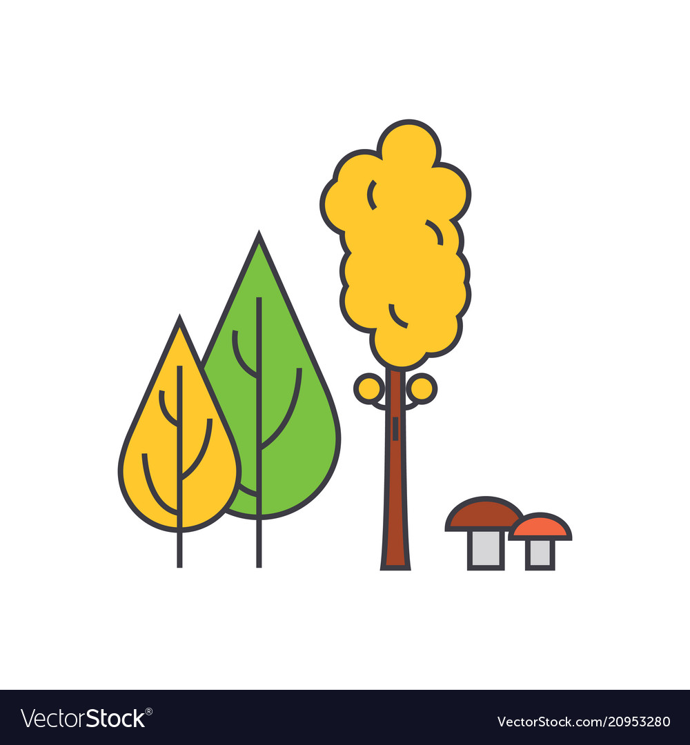 Forest trees line icon concept forest trees flat