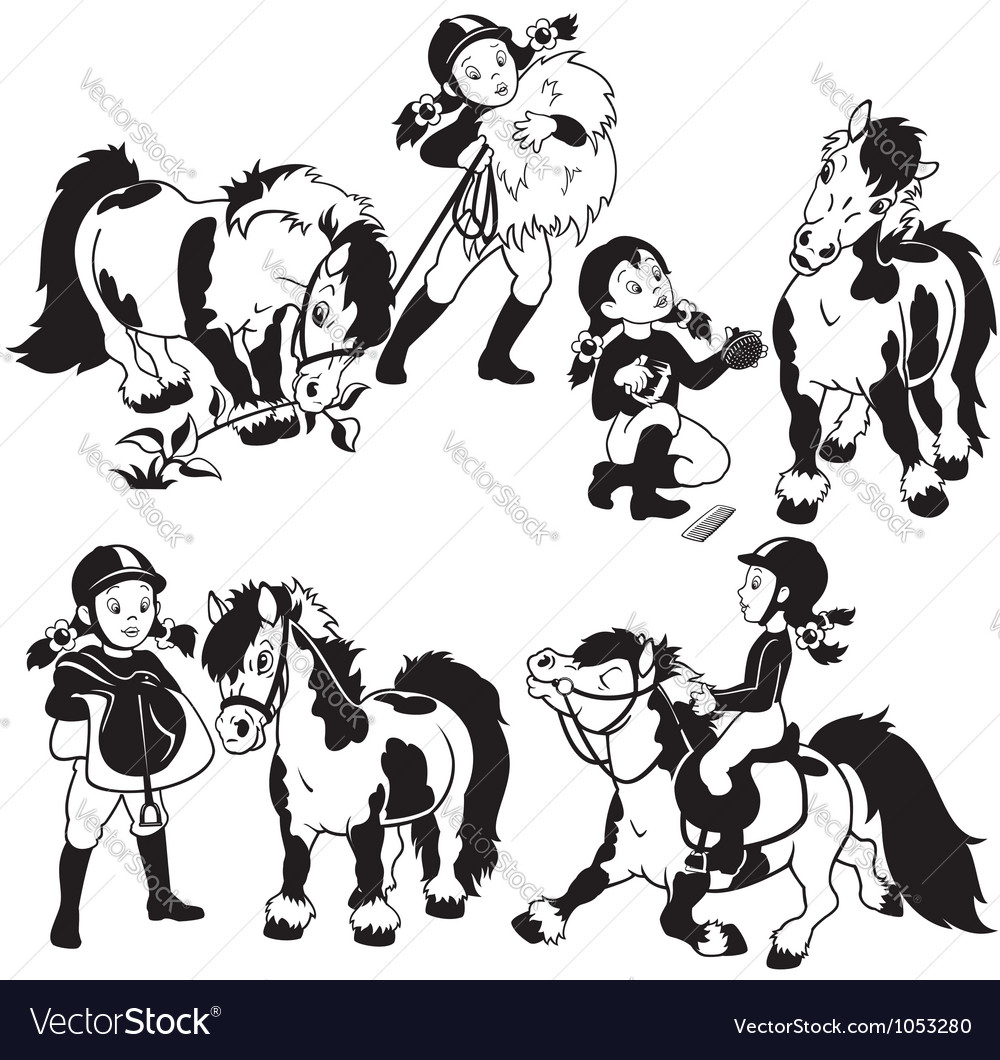 Girl and pony black and white vector image