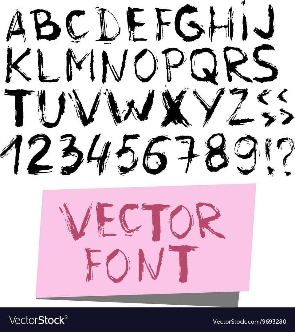 Handwritten alphabet written with brush pen vector image
