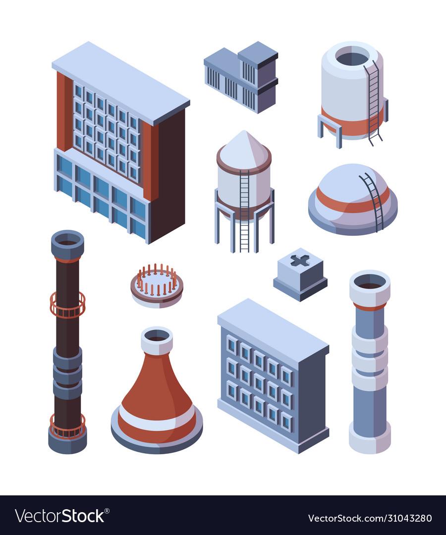 Industrial factory building set industrial