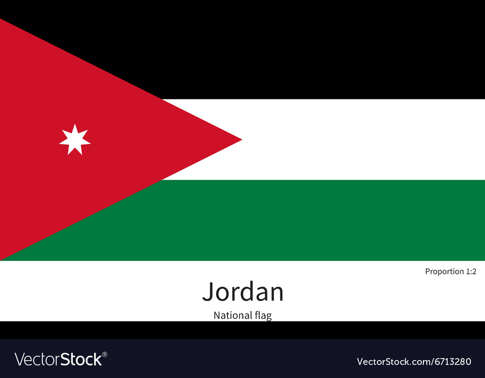 national flag of jordan with correct proportions vector image