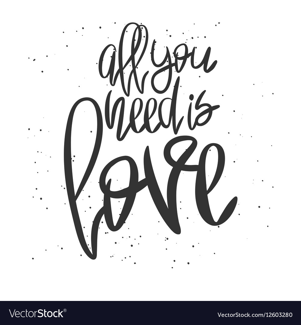 Romantic decorative poster with lettering