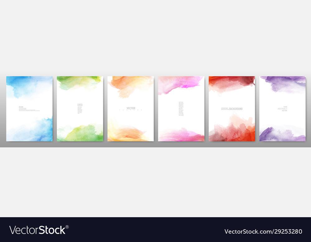 Set bright colorful watercolor