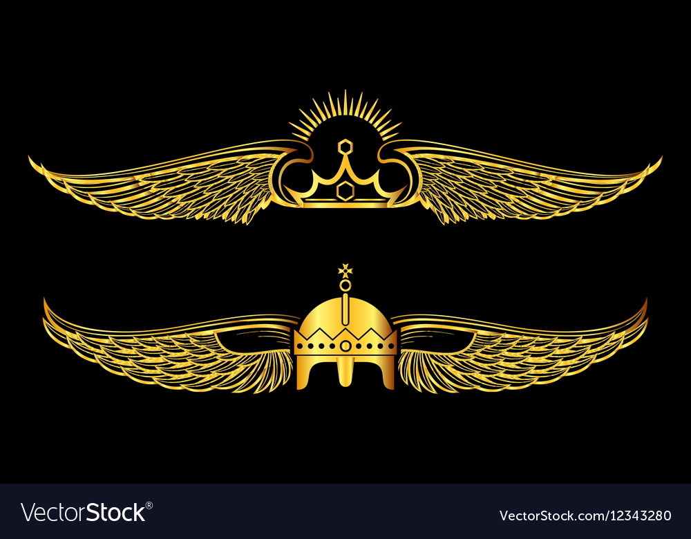 Set of golden winged crowns logos black background vector image