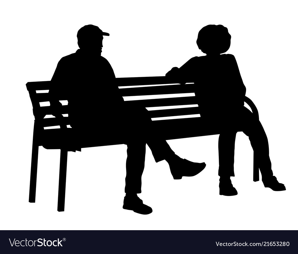 Two persons silhouettes sitting on a bench