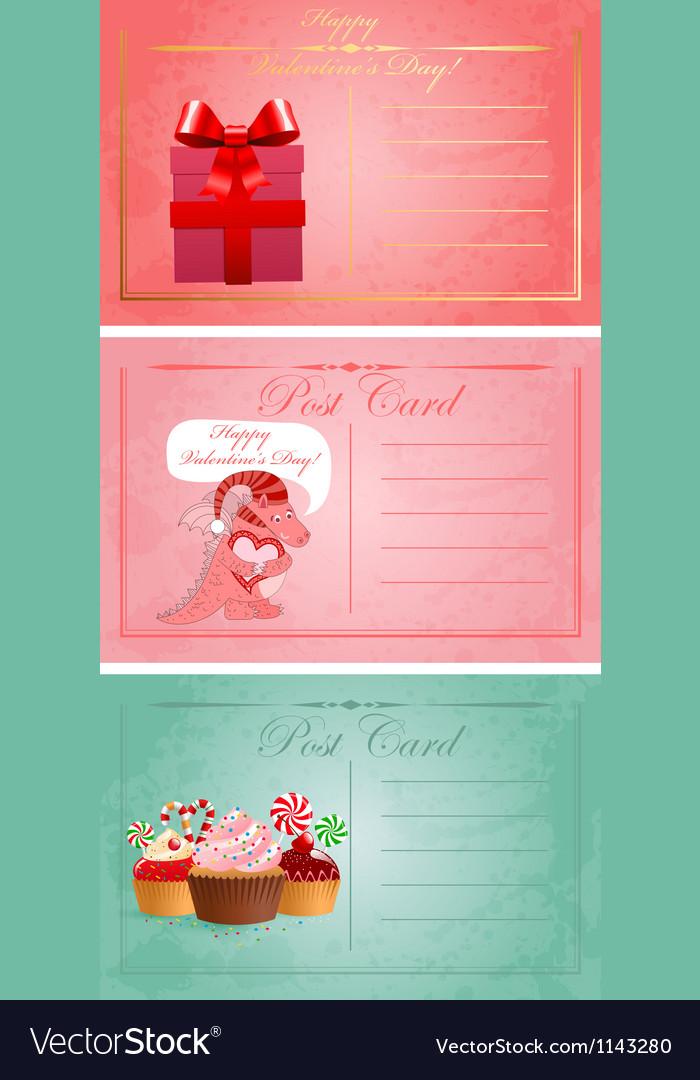 Vintage valentine day postcards