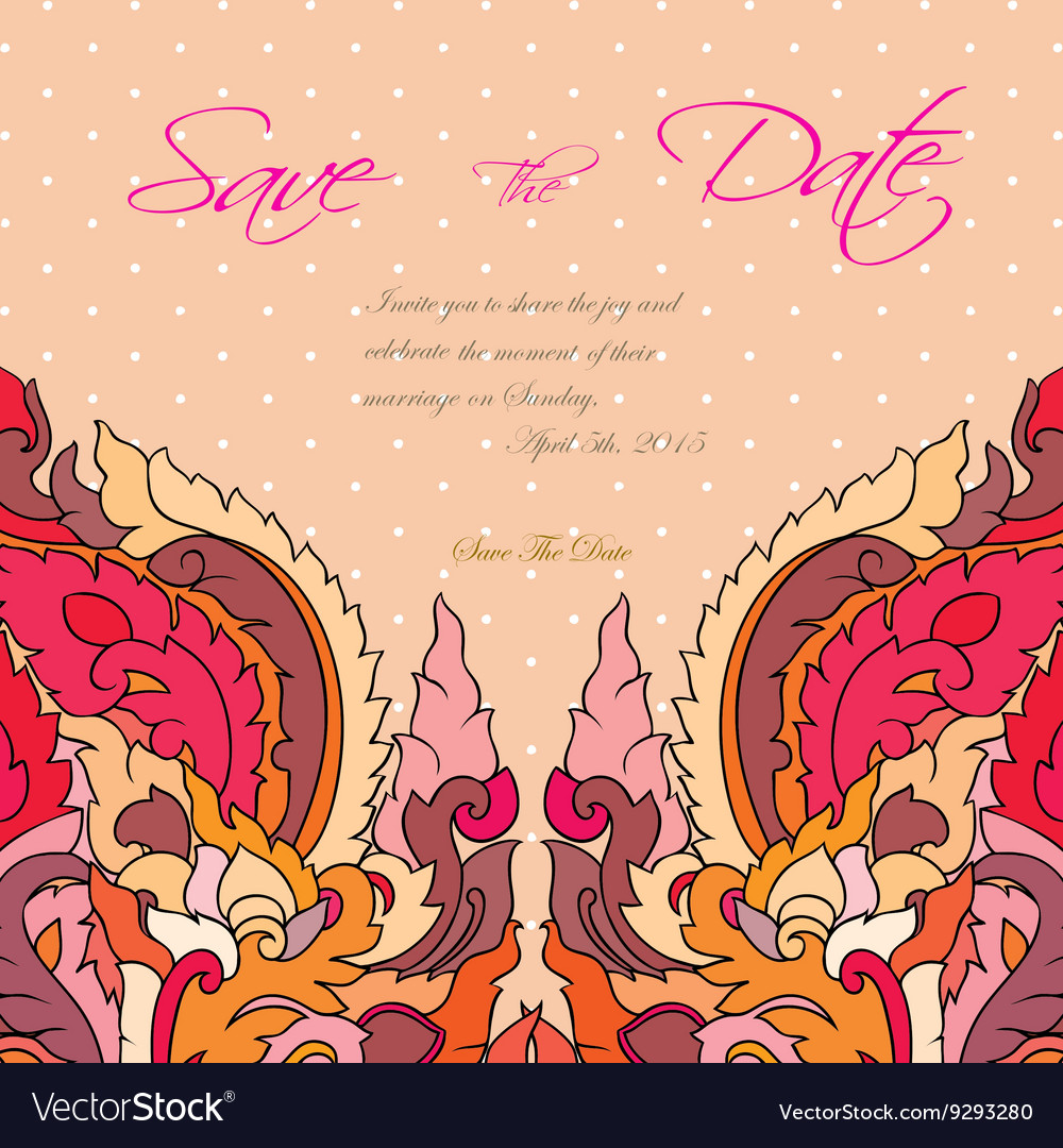 Wedding invitation card suite with thai ornament