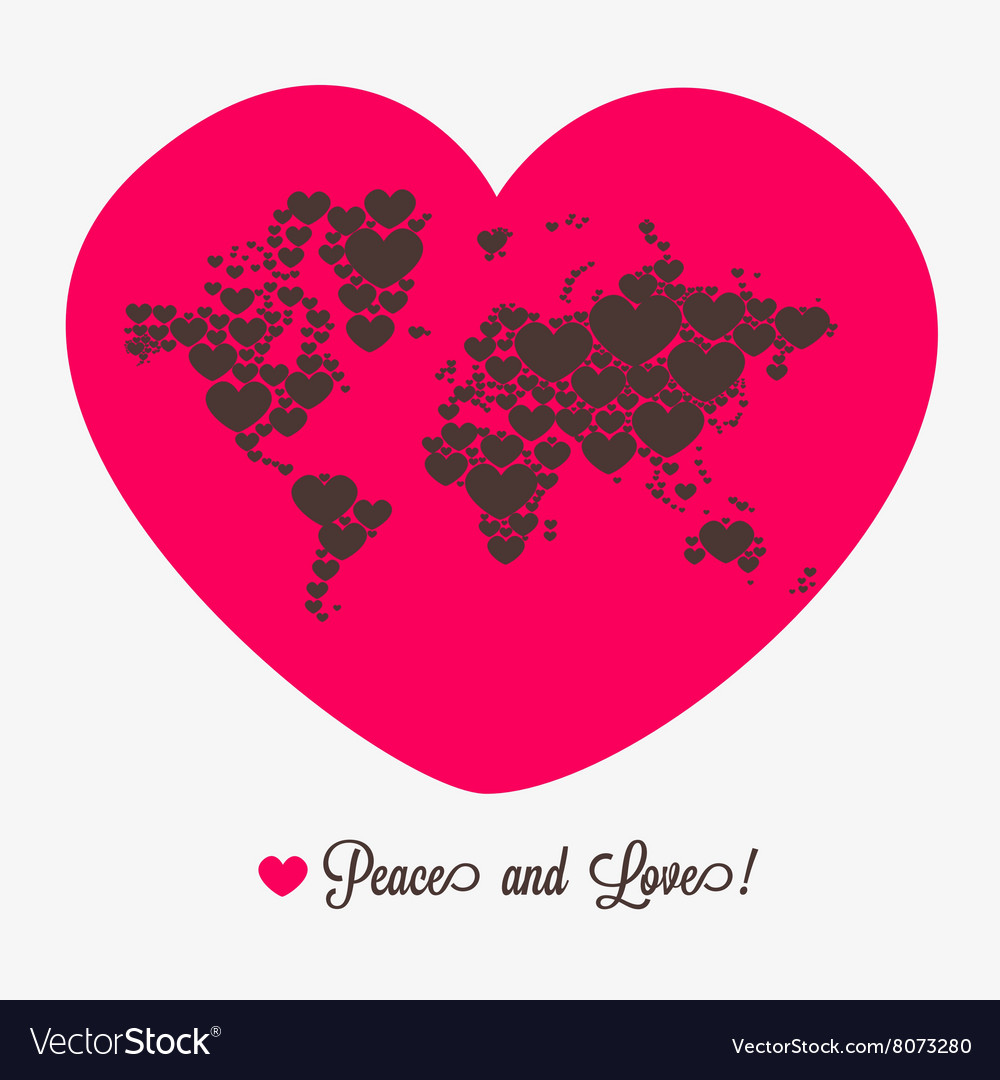 World map with hearts Valentines day