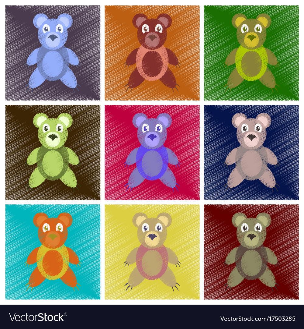 Assembly flat shading style icons toy bear