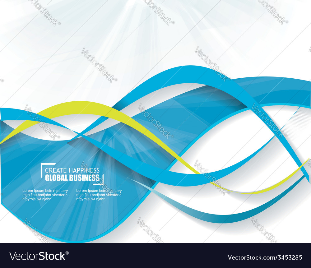 Blue wave business abstract background vector image