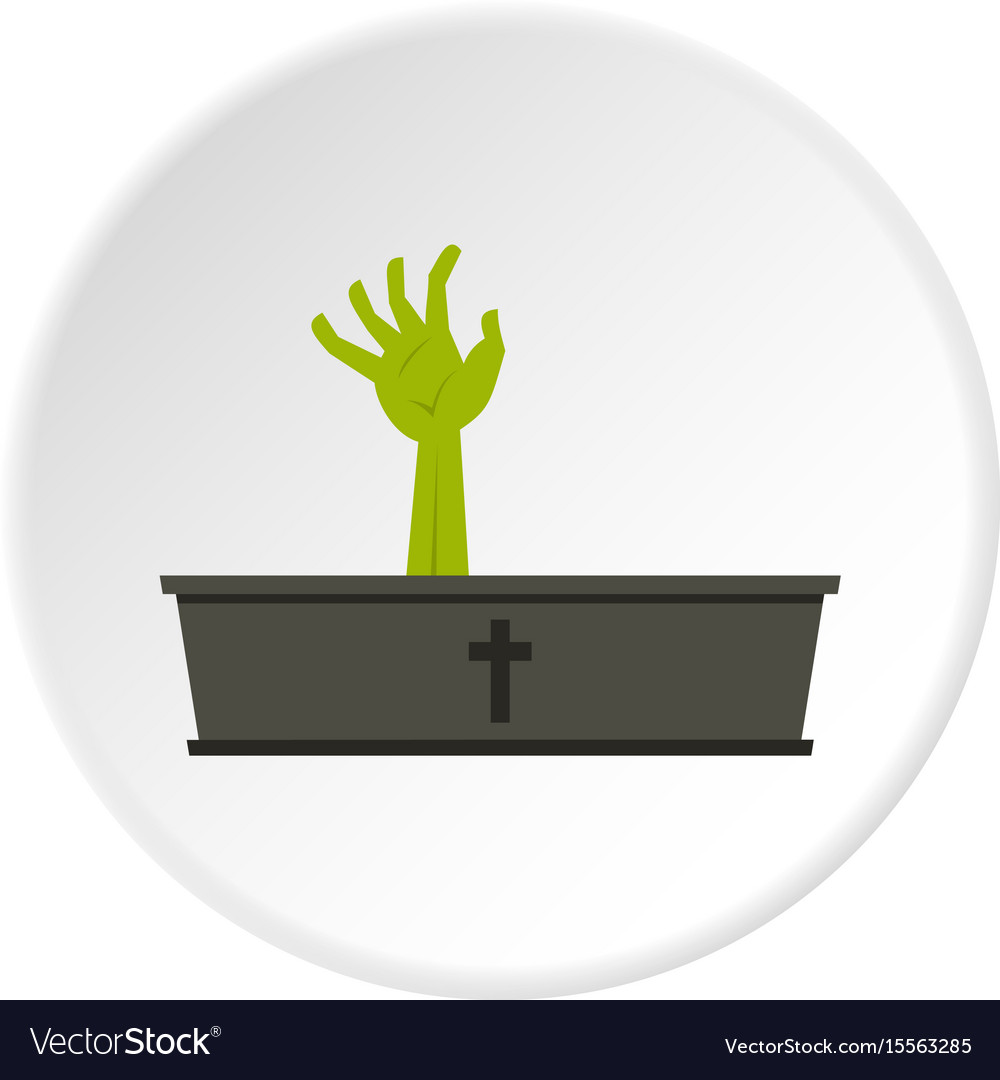 Green zombie hand coming out of his coffin icon vector image