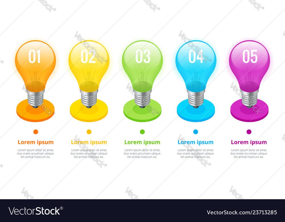 Isometric lightbulb infographics ideas concept