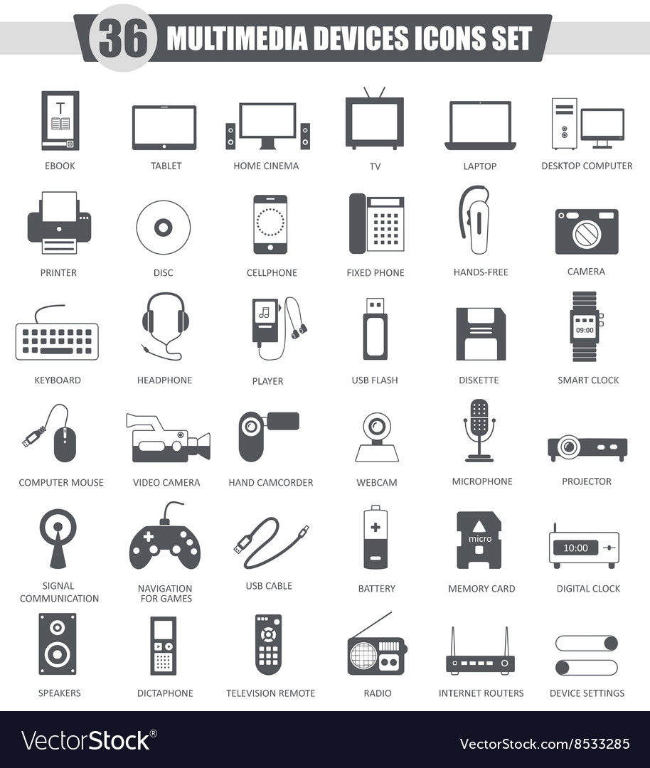 Multimedia devices black icon set Dark