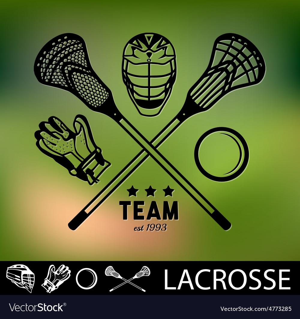 Set vintage lacrosse labels and badges