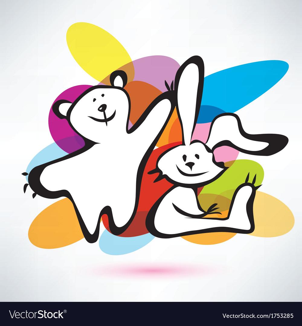 Teddy bear and bunny icons cartoon style