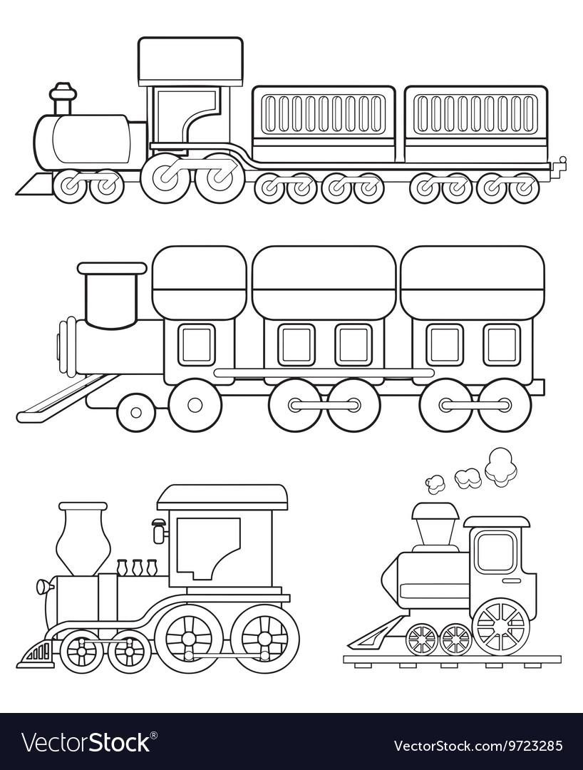 Train Coloring Page Royalty Free Vector Image Vectorstock