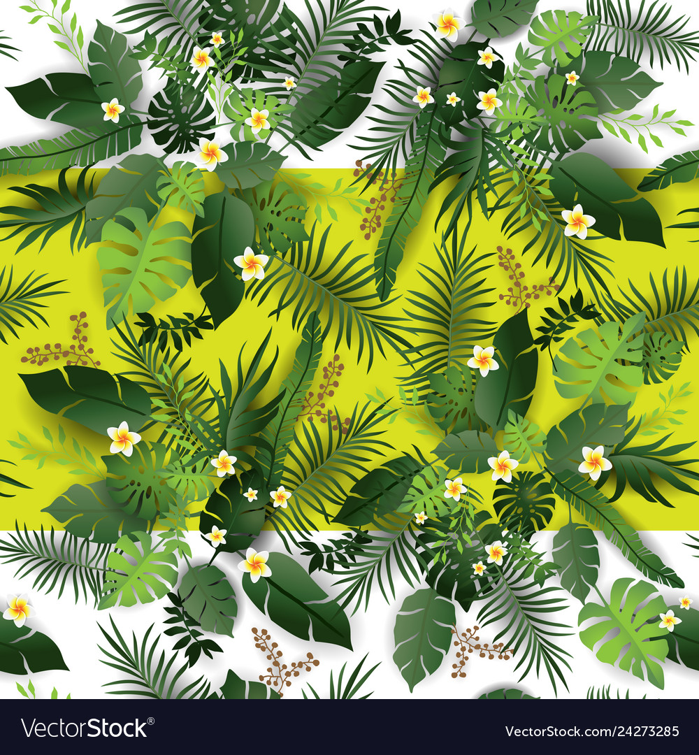 Tropical flowers and leaves print